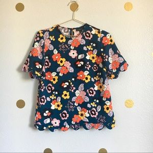 Victoria Beckham for Target Blue Floral Blouse